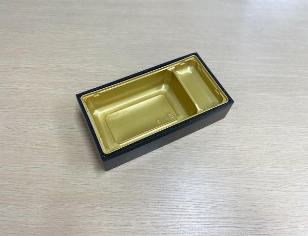 【ご注文可能商品】折箱 Kウッド-11 黒部/ゴールド透明フタ付